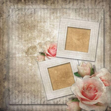 Grunge background with  frames and roses  photo