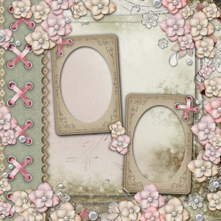 wedding photo frame: Old decorative cover - background with frames, flowers and pearls
