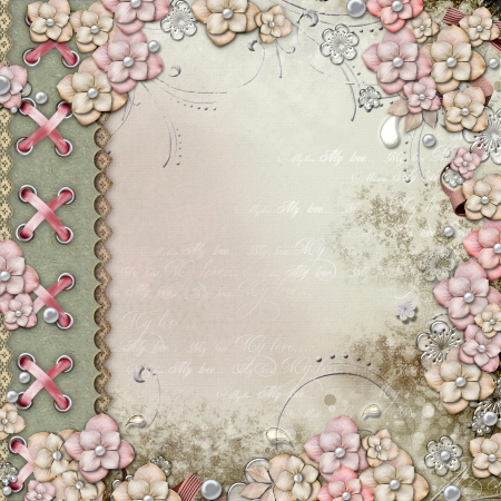 collage art: Old decorative cover with flowers and pearls