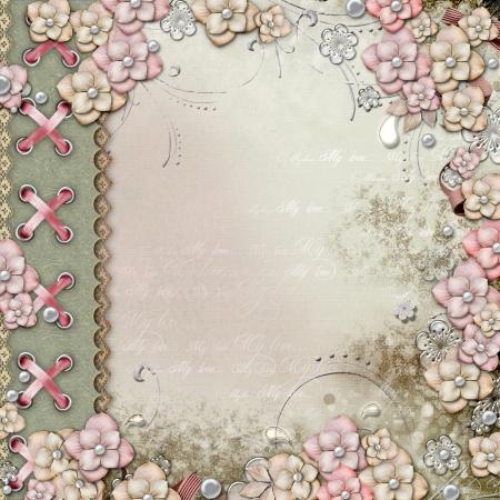 wedding photo frame: Vecchio coperchio decorativo con fiori e perle