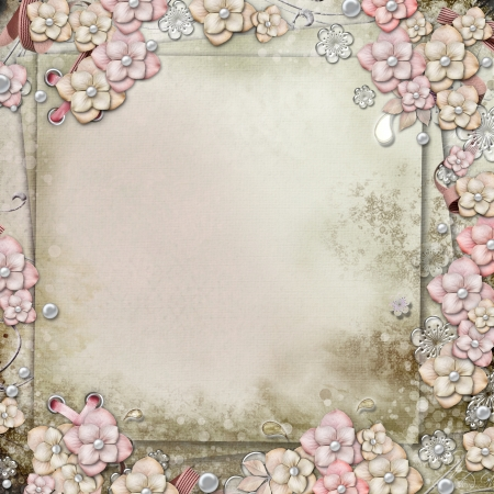 Old decorative background with flowers and pearls  photo