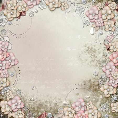 Old decorative background with flowers and pearls