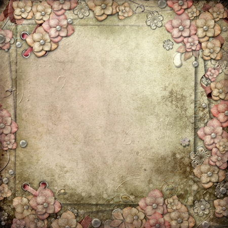 pearls: Old decorative background with flowers and pearls