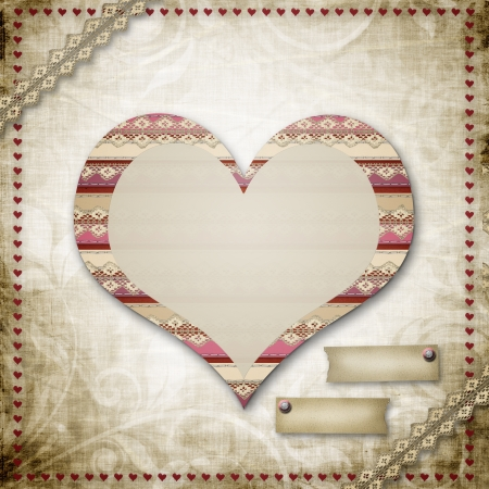 sewed: Vintage grunge background to a festive Valentines Day or Wedding Stock Photo