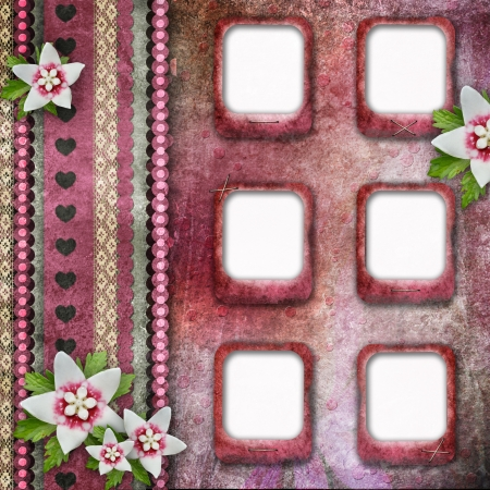 Vintage pink photo frames with flowers  photo