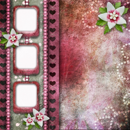 Pink abstract background with frames and flowers photo