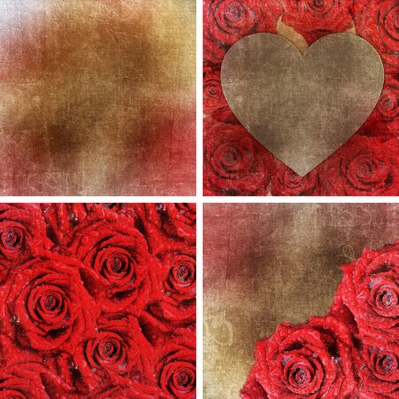 Collection of 4 paper backgrounds with red roses for Valentines day or Wedding photo