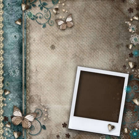 Vintage background for invitation or congratulation with frame  Stock Photo - 17594578