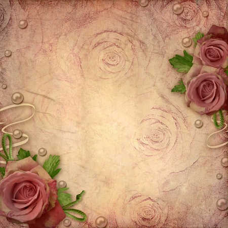 Card for greeting or invitation on the vintage background with roses photo