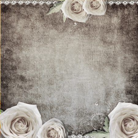 lace border: vintage romantic background with roses  Stock Photo