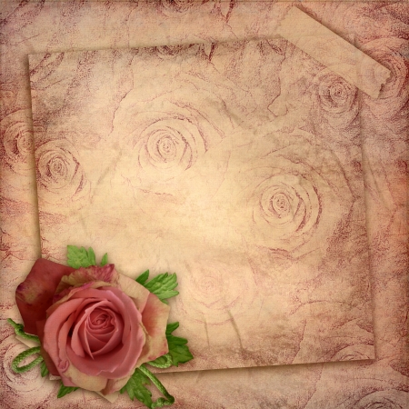 page layout: Card for greeting or invitation on the vintage roses  background
