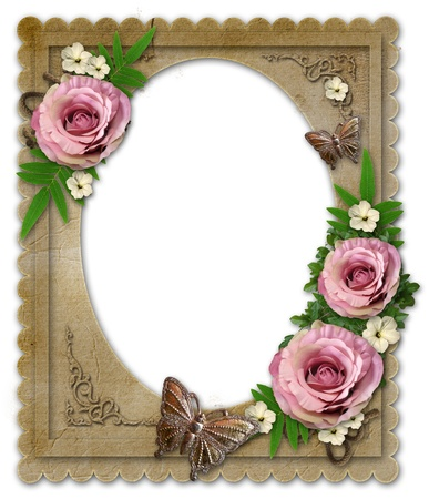 rose photo: old vintage paper frame with flowers and butterfly  isolated  on white