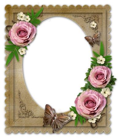 wedding photo frame: vecchio telaio di carta vintage con fiori e farfalle isolati su bianco Archivio Fotografico