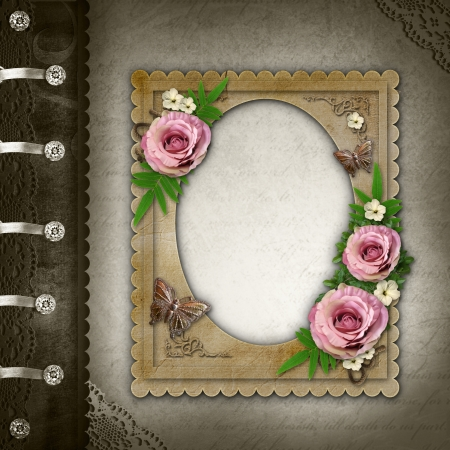 rose photo:  Vintage Photo Album Сover Stock Photo