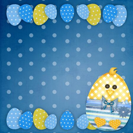 child boy: easter card with a  chick