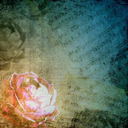 letras musicales: Fondo romántico en estilo retro con la rosa y nota Foto de archivo