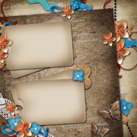 wedding photo frame: Carta per invito o congratulazione su sfondo d'epoca
