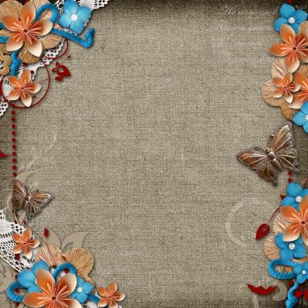 Vintage Hintergrund mit Blumen für Glückwünsche und Einladungen Standard-Bild - 18367167