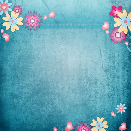 photoalbum: Greeting card background with flowers, hearts