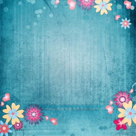 Greeting card background with flowers , hearts