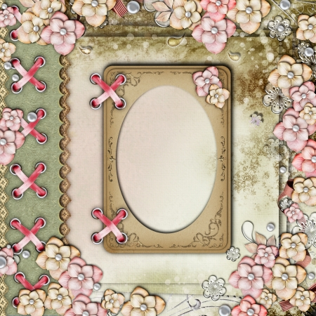 photo album page: Old decorative background with flowers and pearls