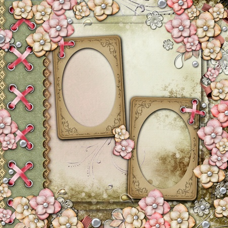 wedding photo frame: Old decorative background with flowers and pearls