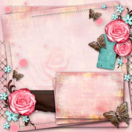 fragmentary: greeting card with flowers, butterfly on pink paper vintage background