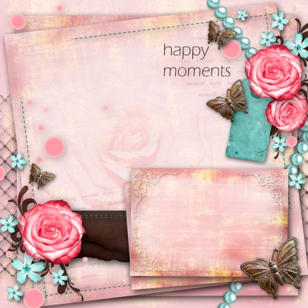 greeting card with flowers, butterfly on pink paper vintage background Stock Photo - 20165469