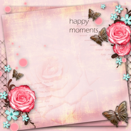 greeting card with flowers, butterfly on pink paper vintage background Stock Photo - 20165434