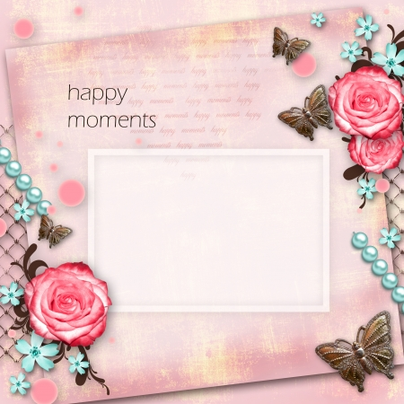 greeting card with flowers, butterfly on pink paper vintage background Stock Photo - 20162310