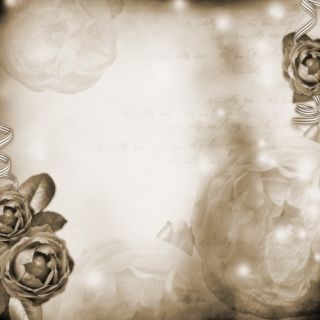 Frame with  roses, lace, text and pearls  photo