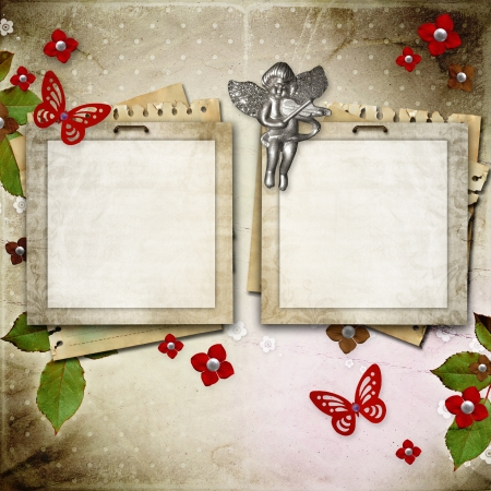 scrapbook frame: Vintage framework for invitation or congratulation Stock Photo
