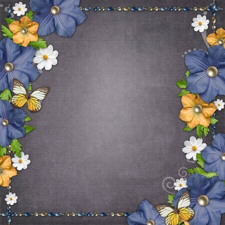 old diary: Vintage background with  blue and yellow flowers