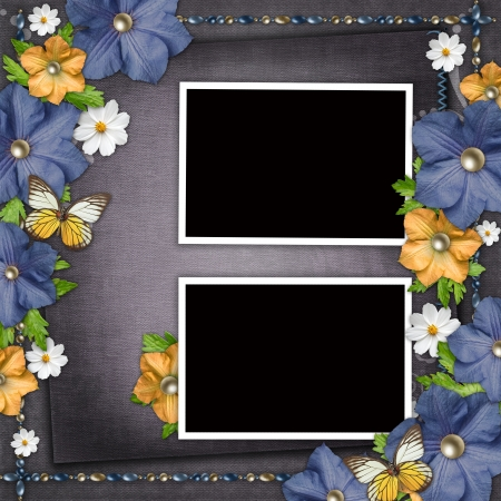 Vintage background with  blue and yellow flowers