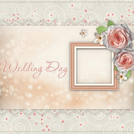 wedding photo frame: Wedding Day Card  for congratulation with roses