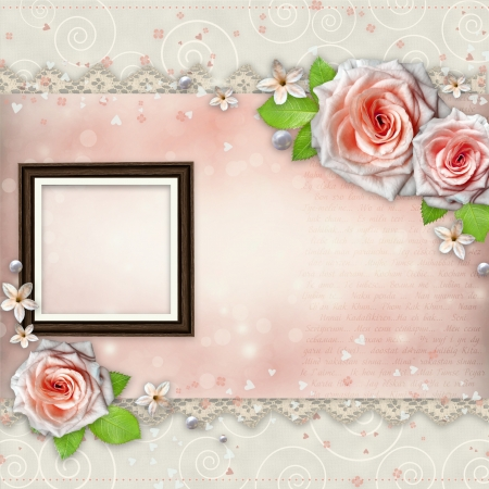 Background for congratulation with beautiful rose  photo