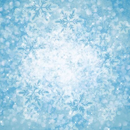 winter abstract background with bokeh lights, snowflakes