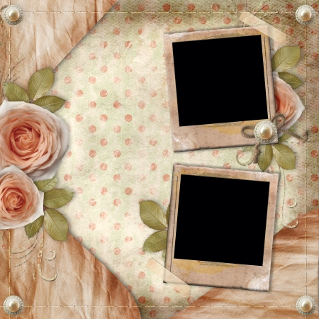 pink and brown background: Greeting  card with beautiful roses