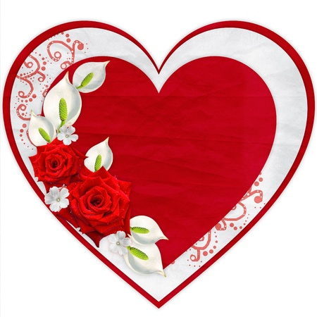 hearts and flowers: Paper heart with red roses isolated on white background