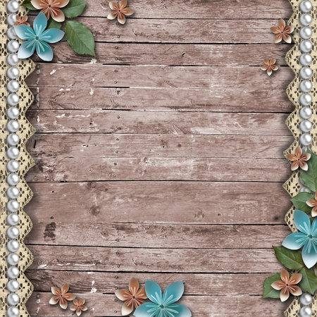 photo album: Old wooden background with a flowers, pearls