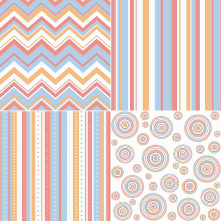 set of four different retro seamless pattern  photo