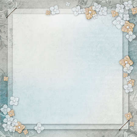 Romantic vintage blue and grey textured background with floral elements and text photo