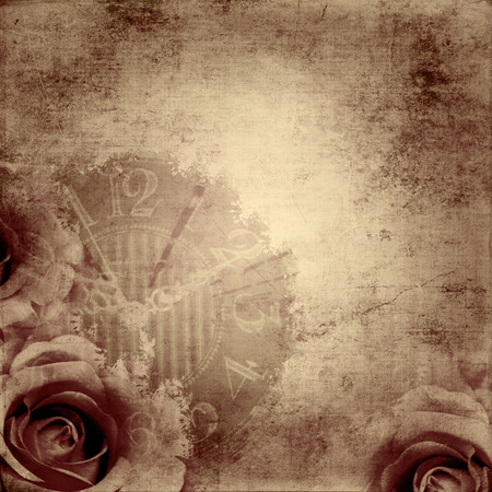 parchemin: fond texture vintage avec la montre (temps) et rose Banque d'images