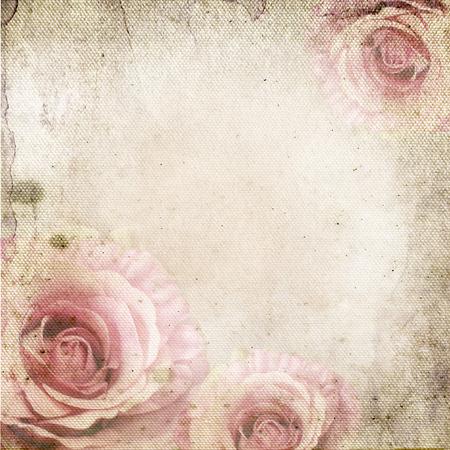 Vintage Hintergrund mit Rosen über Retro-Papier Standard-Bild - 35471869