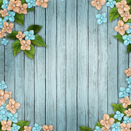 photo album page: Blue wooden background with  flowers, pearls and lace