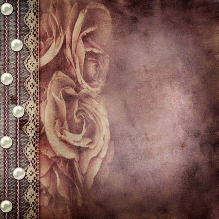 darck: Album old  cover with roses, lace, rope, pearls