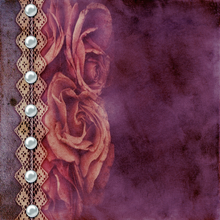 old album: Album old  cover with roses, lace, rope, pearls