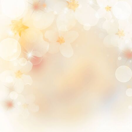 floral border: Abstract floral border of white flowers. Spring blossom background