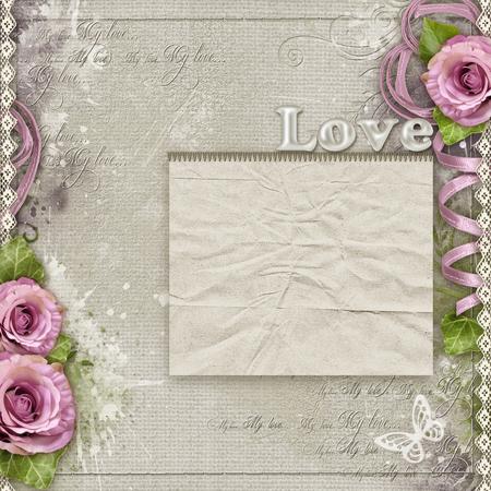 encaje: Fondo de la vendimia con las rosas de color púrpura, cordón, cinta