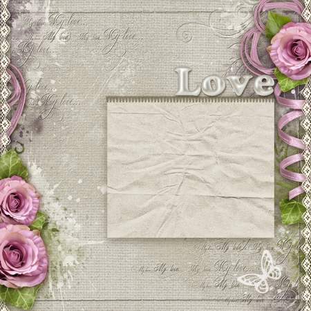 Vintage background with purple roses, lace, ribbon Stock Photo